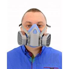 Полумаска силиконовая + фильтра угольные на резьбе SAFETY  PROTECTION