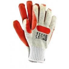 """Перчатки рабочие стекольщика основа-х/б, облив-латекс, красные. """"REXG"""" (Reis)"""